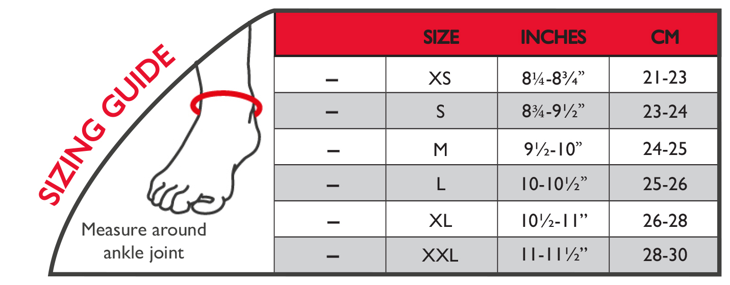 Ankle wrap size chart