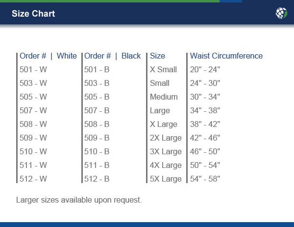 Back Brace Size Chart