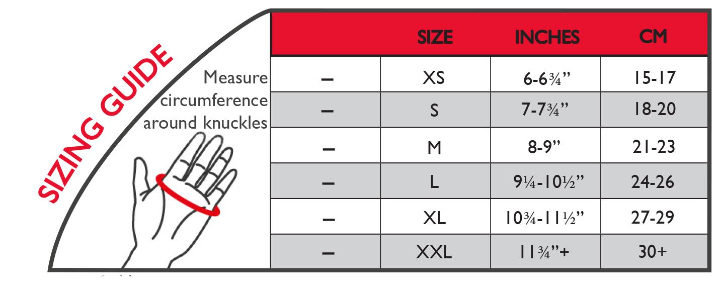 Arthritis Gloves sizing chart